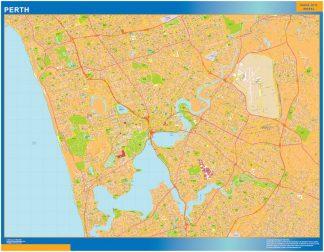 Mapa Perth Australia enmarcado plastificado
