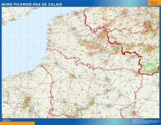 Mapa Picardie Pas Calais en Francia enmarcado plastificado