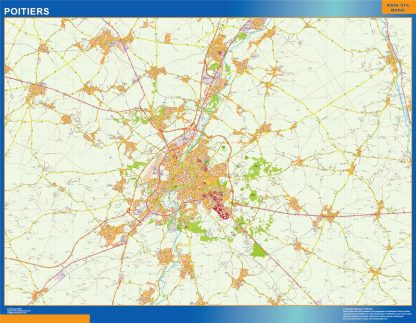 Mapa Poitiers en Francia enmarcado plastificado