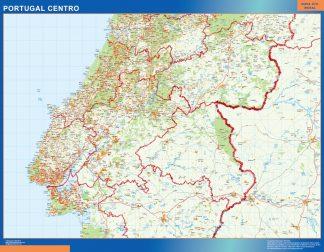 Mapa Portugal centro carreteras enmarcado plastificado
