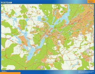 Mapa Postdam en Alemania enmarcado plastificado