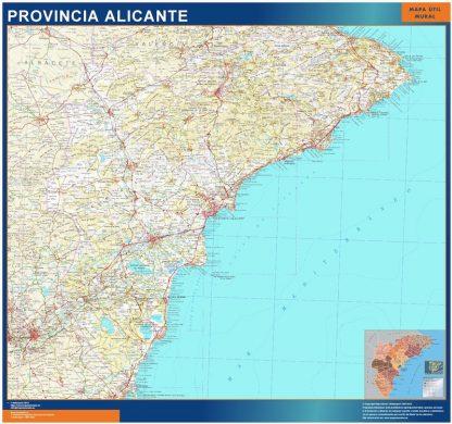 Mapa Provincia Alicante enmarcado plastificado