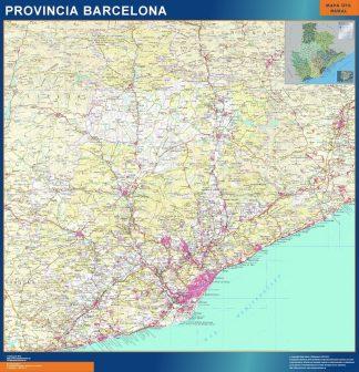 Mapa Provincia Barcelona enmarcado plastificado