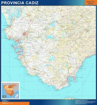 Mapa Provincia Cadiz enmarcado plastificado