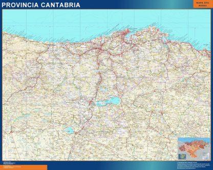 Mapa Provincia Cantabria enmarcado plastificado