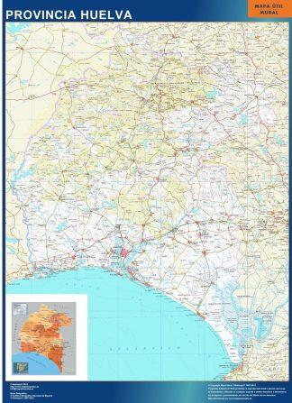 Mapa Provincia Huelva enmarcado plastificado