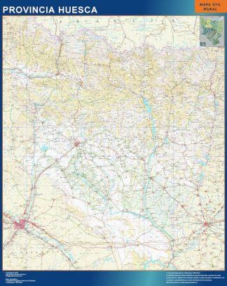 Mapa Provincia Huesca enmarcado plastificado