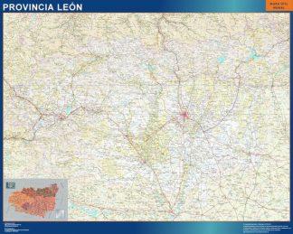 Mapa Provincia Leon enmarcado plastificado