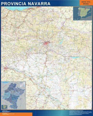 Mapa Provincia Navarra enmarcado plastificado
