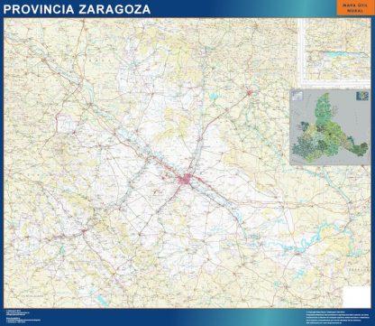 Mapa Provincia Zaragoza enmarcado plastificado