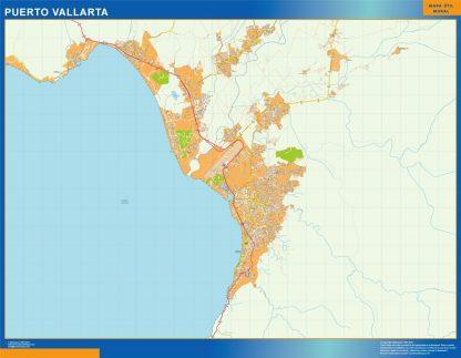 Mapa Puerto Vallarta en Mexico enmarcado plastificado