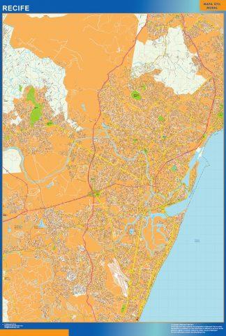 Mapa Recife Brasil enmarcado plastificado