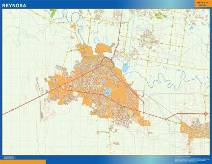 Mapa Reynosa en Mexico enmarcado plastificado