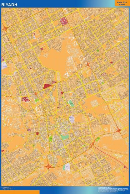 Mapa Riyadh en Arabia Saudita enmarcado plastificado