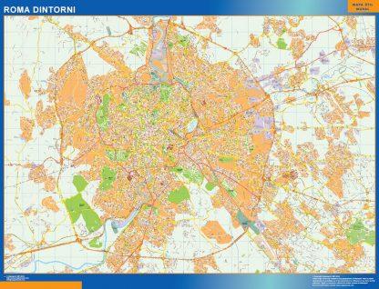 Mapa Roma Dintorni enmarcado plastificado