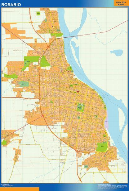 Mapa Rosario en Argentina enmarcado plastificado