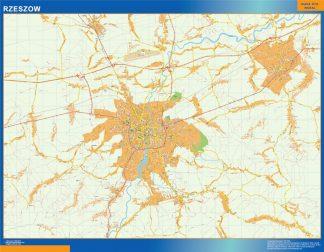 Mapa Rzeszow Polonia enmarcado plastificado