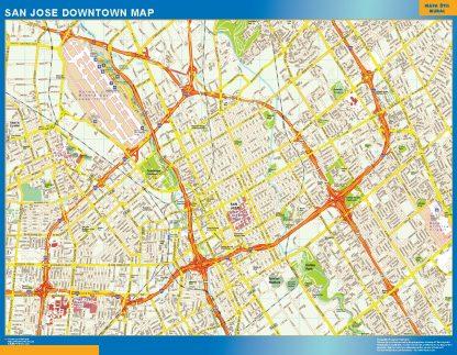 Mapa San Jose downtown enmarcado plastificado