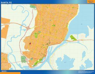 Mapa Santa Fe en Argentina enmarcado plastificado