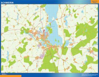 Mapa Schwerin en Alemania enmarcado plastificado