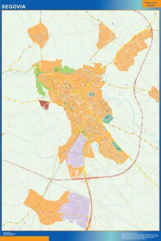 Mapa Segovia callejero enmarcado plastificado