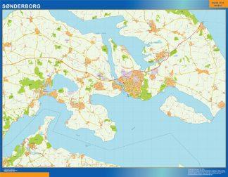 Mapa Sonderborg en Dinamarca enmarcado plastificado