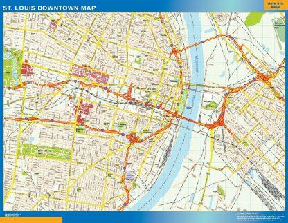 Mapa St Louis downtown enmarcado plastificado