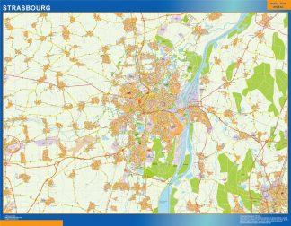 Mapa Strasbourg en Francia enmarcado plastificado
