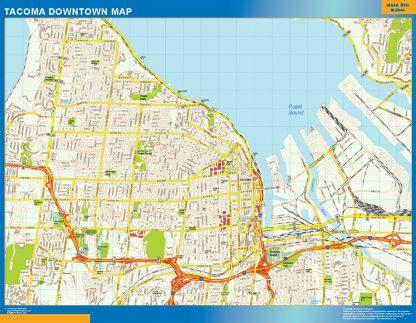 Mapa Tacoma downtown enmarcado plastificado