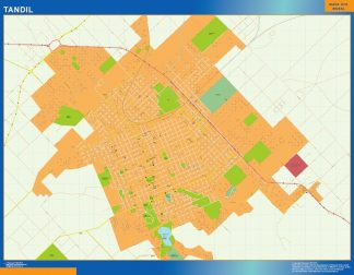 Mapa Tandil en Argentina enmarcado plastificado