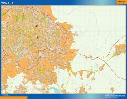 Mapa Tonala en Mexico enmarcado plastificado