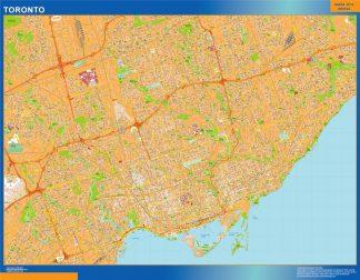 Mapa Toronto en Canada enmarcado plastificado