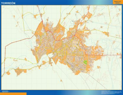 Mapa Torreon en Mexico enmarcado plastificado