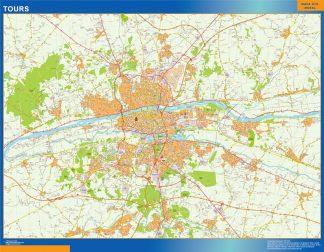 Mapa Tours en Francia enmarcado plastificado