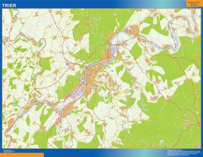 Mapa Trier en Alemania enmarcado plastificado