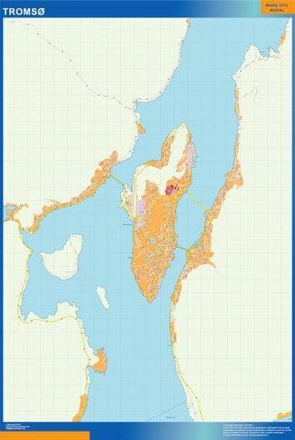Mapa Tromso en Noruega enmarcado plastificado