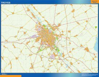 Mapa Troyes en Francia enmarcado plastificado