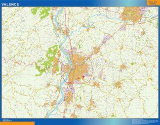 Mapa Valence en Francia enmarcado plastificado