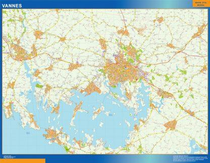 Mapa Vannes en Francia enmarcado plastificado