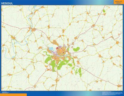 Mapa Vesoul en Francia enmarcado plastificado