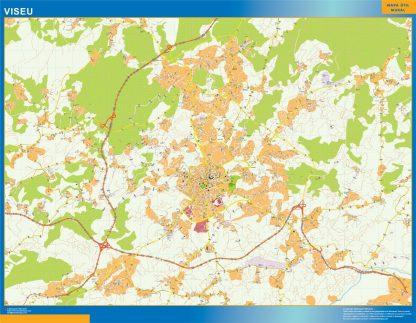 Mapa Viseu en Portugal enmarcado plastificado