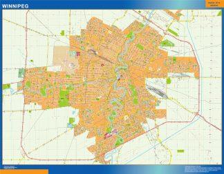 Mapa Winnipeg en Canada enmarcado plastificado
