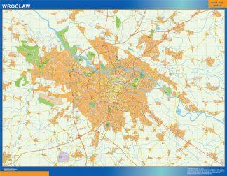 Mapa Wroclaw Polonia enmarcado plastificado