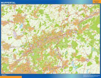 Mapa Wuppertal en Alemania enmarcado plastificado