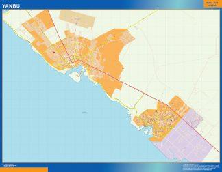 Mapa Yanbu en Arabia Saudita enmarcado plastificado