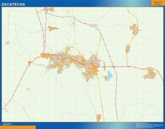 Mapa Zacatecas en Mexico enmarcado plastificado