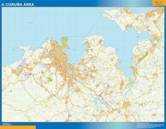 Mapa carreteras A Coruna Area enmarcado plastificado