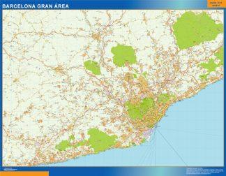 Mapa carreteras Barcelona Gran Area enmarcado plastificado