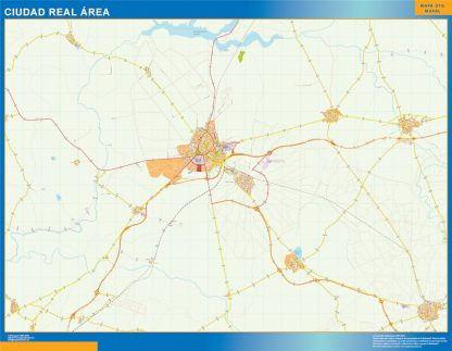 Mapa carreteras Ciudad Real Area enmarcado plastificado