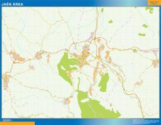 Mapa carreteras Jaen Area enmarcado plastificado